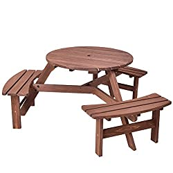 Giantex 6 Person Wooden Picnic Table Set