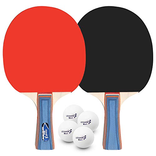 Lixada Table Tennis 2 Player Set 2 Table Tennis Bats Rackets with 4 Ping Pong Balls Set de Tennis de Table Balles de Ping-Pong Table Raquettes de Tennis de Table for School Home