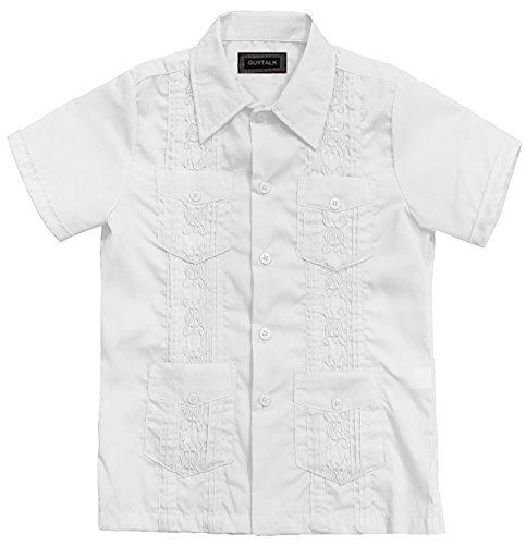 Guytalk Kids Boys' Guayabera Short Sleeve Shirt(13 Colors, Size 0-18) White