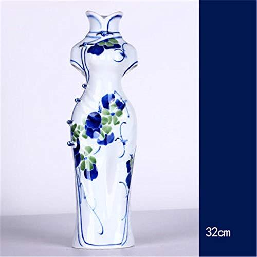 Standbeeld Hars Sculptuur Ornamenten Sculptuur Geschenk Keramiek Handgeschilderde Blauw-Wit Porselein Cheongsam Vaas Woonkamer Chinese Stijl Regelen Bloemen Ornamenten