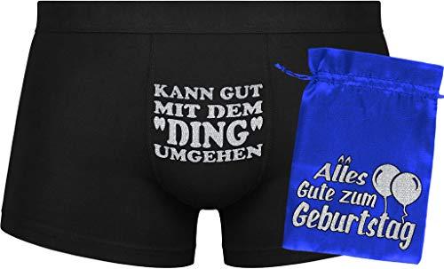 Herr Plavkin Geburtstagsgeschenk   Kann gut mit dem Ding umgehen   Geburtstag   Jubiläum   Blue Bag 'Happy Birthday'