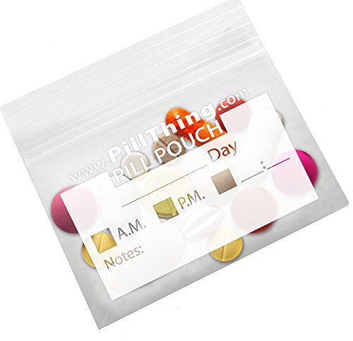 Zipper Pill Organizer Pouch Bags - Now 20% Stronger - Pack of 100 3 Mil Clear, Reusable, BPA Free, Write On Label, Pill Organizer for Travel by PILLTHING