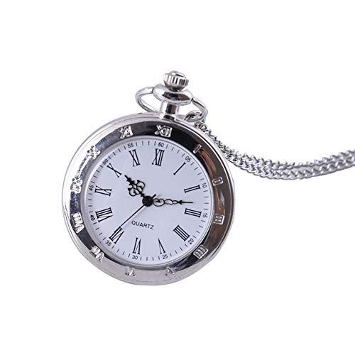 NOBRAND Reloj de Bolsillo, Retro Silver Smooth Steampunk Quartz Hombres y Mujeres Pareja Reloj de Bolsillo Retro Quartz...