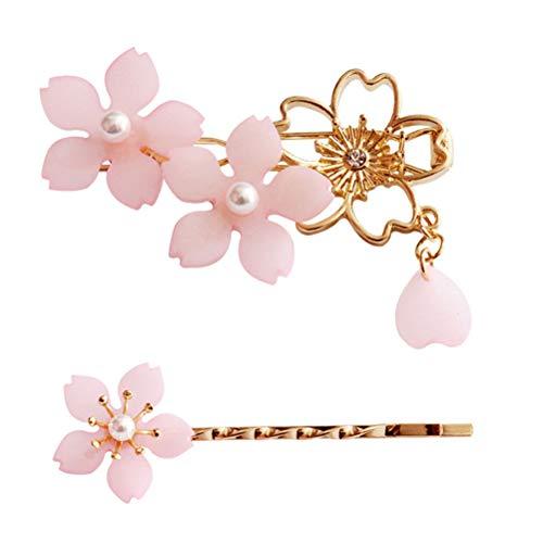 2pcs pince à cheveux perle sakura rétro épingle à cheveux Bobby Pin pour femmes filles