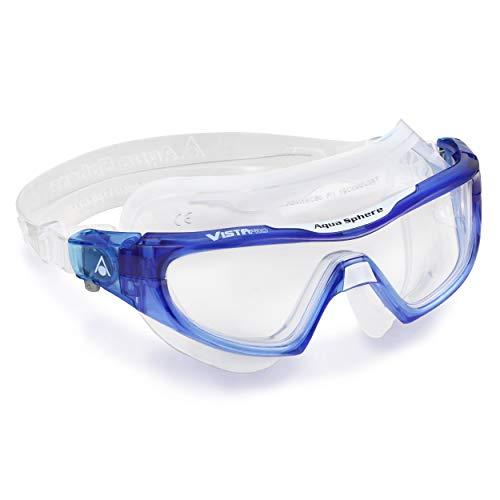 Aqua Sphere Unisex– Erwachsene Vistor Pro Schwimmmaske, Klare Gläser-Blau/Weiß, One Size
