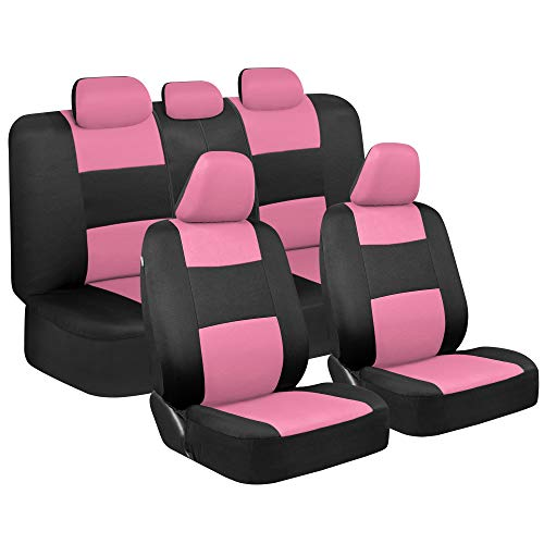 BDK PolyPro Car Seat Covers, Full Set in Pink on Black – Front and Rear Split Bench Protection, Easy Install with Two-Tone Accent, Universal Fit for Auto Truck Van SUV