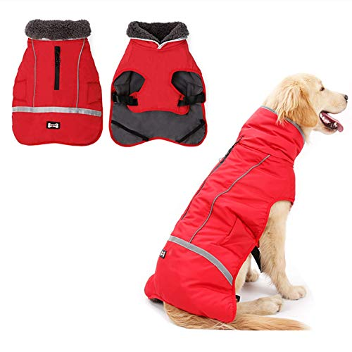 Doglay Reflective Dog Winter Coat Pet Warm Christmas Clothes, Waterproof Windproof Cold Weather Dog...
