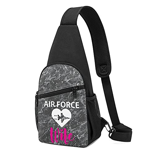 VJSDIUD Air Force Wife Mujer y hombre Bolsa de pecho Impresión 3D Multifunción Senderismo, Camping, Deportes Crossbody Bolsas