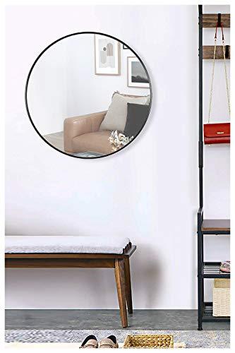 DIREKTE IMPORT Espejo de pared redondo con marco de metal negro [60 x 60 x 4 cm] | Espejo decorativo de cristal para baño, vestidor o sala...
