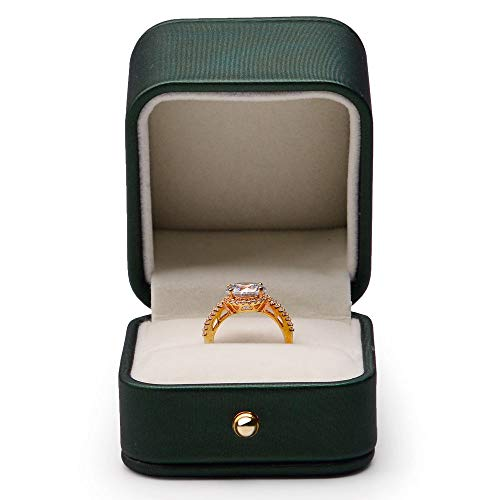 Oirlv Gorgeous Blackish Green Ring Box Premium Leather Ring Bearer Box for Wedding,Proposal Jewelry Gift Case