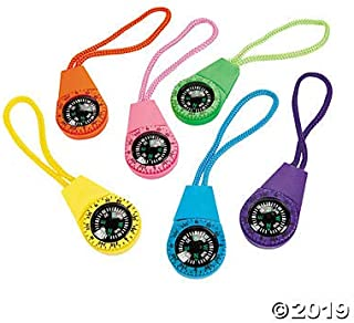 Neon Compass On Cord (1 Dozen) - Bulk Novelty Toy