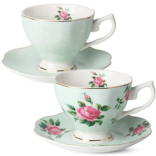 BTaT- Floral Tea Cups and Saucers, Set of 2 (Green - 8 oz) with Gold Trim and Gift Box, Coffee Cups, Floral Tea Cup Set, British Tea Cups, Porcelain Tea Set, Tea Sets for Women, Latte Cups