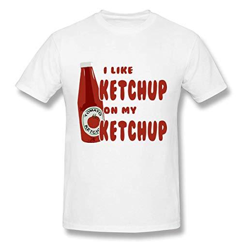 T-Shirt, Bedruckt, Ketchup, Weiß Gr. M, Mehrfarbig