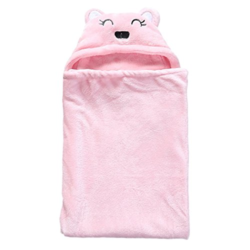 Willlly Couverture Pour Bébé Get Baby Chic Hooded Casual Towel Cute Cartoon Bear Wrap Blanket Simplicity Style De La Mode Classique (Color : Pink, Size : Size)