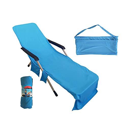 Peahog Toalla para silla de salón, toalla de playa, de microfibra, para piscina, para silla, césped, silla de terraza, con bolsillos, vacaciones, tomar el sol, toallas de secado rápido, 75 x 210 cm