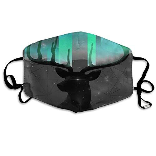 Komfortable, verstellbare Indianer-Satteldecke für Damen und Herren, Gesichtsbedeckung, Gesichtsmaske, Bandana, Sturmhaube Einheitsgröße Northern Lights Hirschkopf