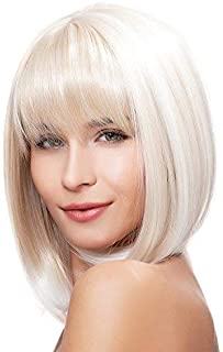 short blonde wig with bangs