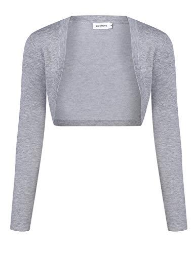 Clearlove Bolero de manga larga para mujer, de punto, festivo, chaqueta corta Shrug gris XL