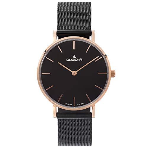 Dugena Damenuhr mit schwarzem Edelstahl Milanaise Armband Saphirglas Rose 4460926