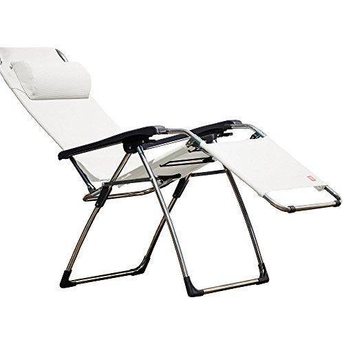 Jan Kurtz Fiam Amida Relaxliege, weiß Gestell aluminium Textilene stufenlos verstellbar
