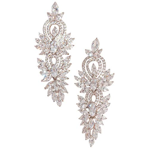 Marquise-Cut Crystal and Pattern Drop Earrings Style EG2324TKA, Silver