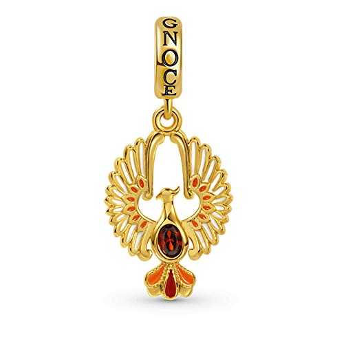 GNOCE Golden Phoenix Pendant Charm Sterling Silver 18k Gold Plated inlaid with Oval Cut Ruby Dangle Charm Fit Bracelet/Necklace for Women Girls Wife Daughter