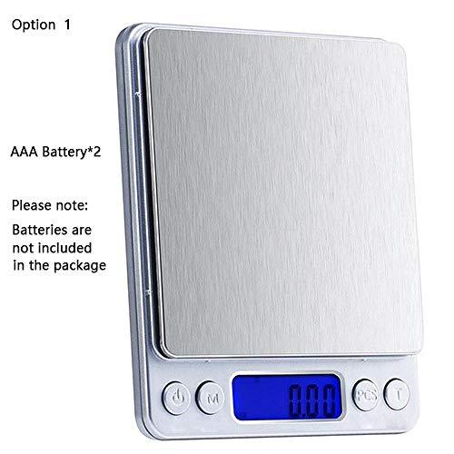 LCD Balance de Cuisine Numérique Précision Balance Électronique USB Poche Poids Or Balance 3000 g x 0,1 g 2 Plateaux Échelle Cuisine Batterie Échelle 3000 g x 0,1 g