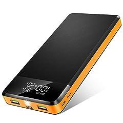 Idea Regalo - Power Bank 26800mAh, 【2020 Nuovo】 Caricabatterie Portatile con 5 Porte, 2 USB con QC 3.0 PD18W e USB C, Display Digitale LED e Torcia, Carica Veloce Batteria Esterna per Cellulare, Tablets (Arancia)