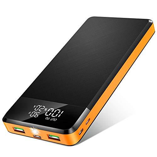 ORITO 26800mAh Power Bank USB C PD18W & QC3.0 Rápido Cargador Portátil, Bateria Externa Móvil Gran Capacidad con 3 Entradas y 3 Salidas y Pantalla LCD, para Móviles y Tabletas etc (Naranja Negro)