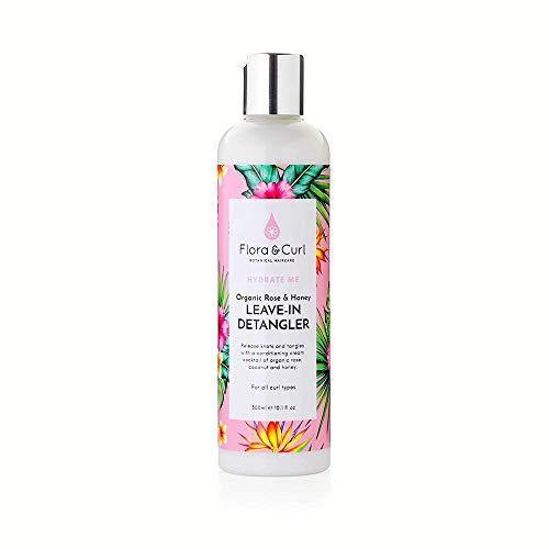 Flora & Curl - Desenredador orgánico de rosa y miel para cabello natural rizado y rizado 300 ml