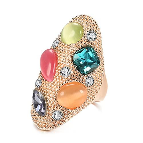 DALIANMAO Anillo Grande de la Piedra del ópalo Colorido del Vintage para Las Mujeres de la joyería de la Boda del Compromiso del Oro de Rosa (Main Stone Color : Rose Gold, Ring Size : 7)