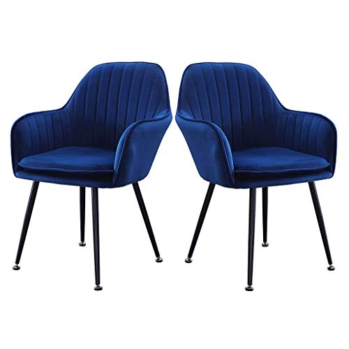 HYRGLIZI Leisure Kitchen Upholstered Accent Side Chairs, Living Room Reception Chairs, Velvet Dining Chairs, Vanity Chair with Removable Cushion, Set of 2 Home (Color : Blue)