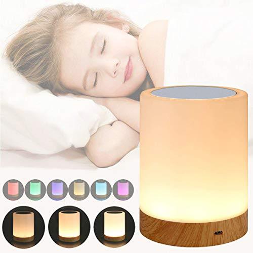 LED Nachttischlampe, Touch Dimmbar Atmosphäre Tischlampe mit 3 Helligkeitsstufen & RGB 6 Farbwechsel, USB Aufladbar Tragbar lampe für Schlafzimmer Büro Lesen und Stillen
