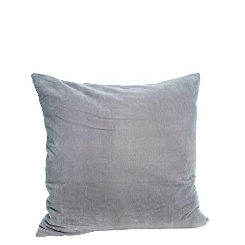 Madam Stoltz kussenovertrek velours in de kleur grijs van puur katoen, afmetingen: 50x50cm