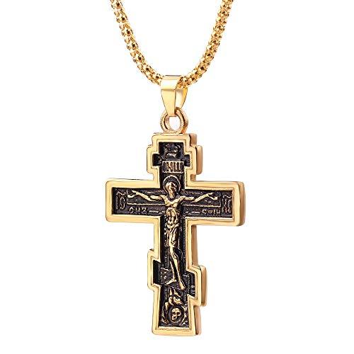 LUOSI Gioielli Preghiera Collana Cristiano Ortodosso Crocifisso Gesù Croce Grande Ciondolo Croce Gesù Uomini Donne Ciondolo Regalo