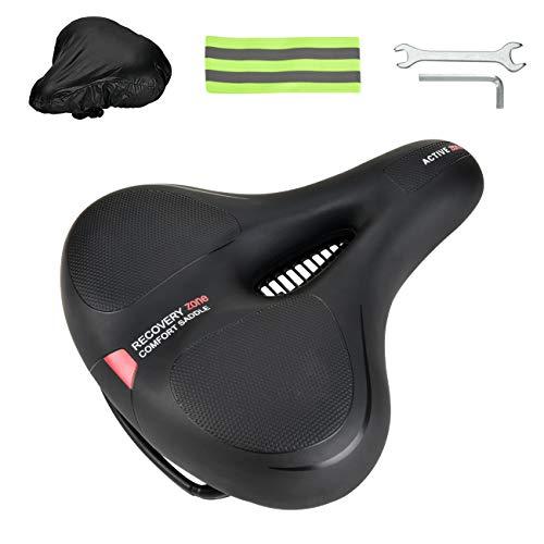Yolansin Sillín de bicicleta,bicicleta de ciudad,bicicleta de carreras,asiento de bicicleta de montaña, asiento de piel cómodo, con cubierta a prueba de polvo, herramienta de montaje, antitranspirante