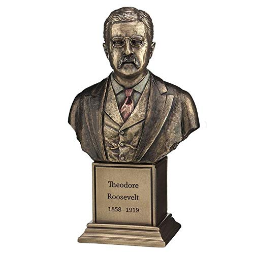 XoticBrands Theodore Roosevelt - Famous People Sculpture - Cold Cast Bronze
