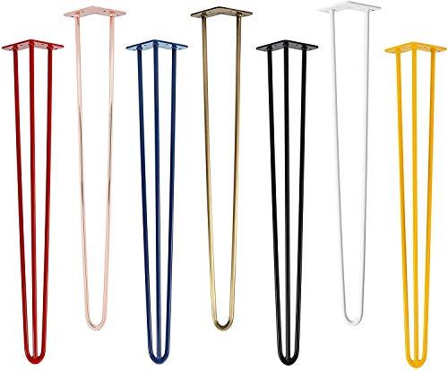 3 patas de mesa Natural Goods Berlin Hairpin Leg de acero de 12 mm de ancho, muchos colores, todos los tamaños, 45 cm, 2 barras (negro)