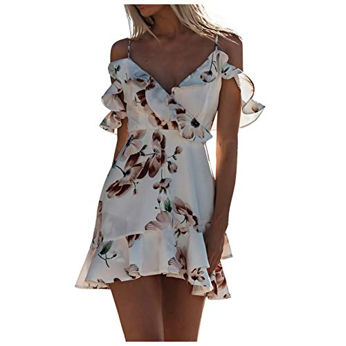 Kexle Women's Fashion Print Mini Sexy V-Neck Sling Off Shoulder Ruffle Dress Best Gift for Women and Girls White