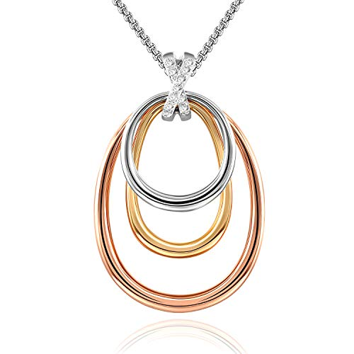 GEORGE · SMITH Triple Rings Circle Pendant Necklace Personalized Family Friendship Love Neckalces, Jewelry Gift for Women Girls
