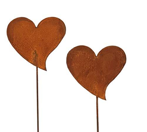 Topf- oder Gartenstecker Metall Herzen Rost Gartendeko Edelrost