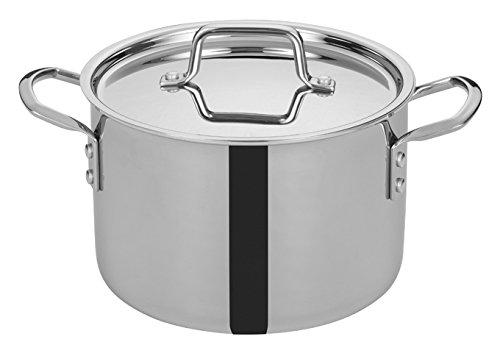 WINCO TGSP-6 Tri-Ply Stock Pot, 6-quart-qt-6qt, Silver