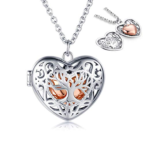 MANBU 925 Sterling Silver Tree of Life Urn Necklace for Ashes - Rose Gold Heart Shaped Cremation Locket Pendant, Women Keepsake Jewelry Memorial Bereavement Gift for Loss of a Loved One
