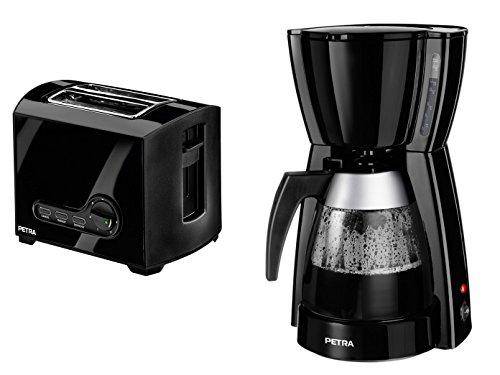 Petra Elegante schwarze Kaffeemaschine und Toaster im Set, für ein perfektes Frühstück, KMSTA 55.07