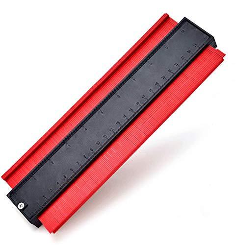 Konturenlehre 10''/260MM | Fliesen Laminat Duplikator Wickelrohre Holzarbeitung Markierungswerkzeug | Profil Kopierer mit Skala unregelmäßiges Konturmessgerät für präzise Messung - Rot