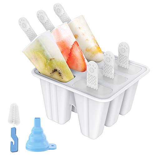Popsicle Molds, Ozera 6 Pack Silicone Popsicle Molds Reusable Ice Pop Molds for DIY Easy Release Homemade Popsicle Maker with Funnel and Cleaning Brush (White)