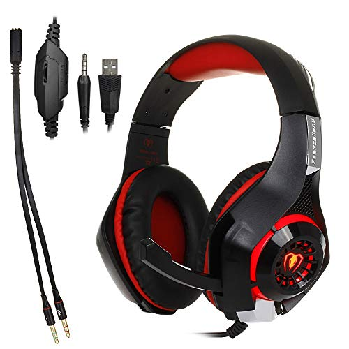 Pearlshop Gaming Headphones with Mic and LED Light for Laptop Computer, Cellphone, PS4 and Son on, DLAND 3.5mm Wired Noise Isolation Gaming Headset - Volume Control Blue and Red (Color : Red)