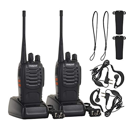Funkprofi Rechargeable Walkie Talkies, 2 Pack Long Range UHF 400-470MHz 16 Channel Two Way Radio with Li-ion Battery, Charger and Earpiece