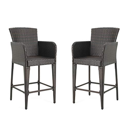 Christopher Knight Home 298899 Seawall Patio Furniture ~ Outdoor Wicker Bar Stool (Set of 2)(Brown)