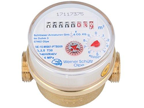 SCHÜTZ 79210 - Wohnungs- Einstrahl-Wasserzähler Q3 - R 40 (Kaltwasser 80 mm x 3/4 Zoll)